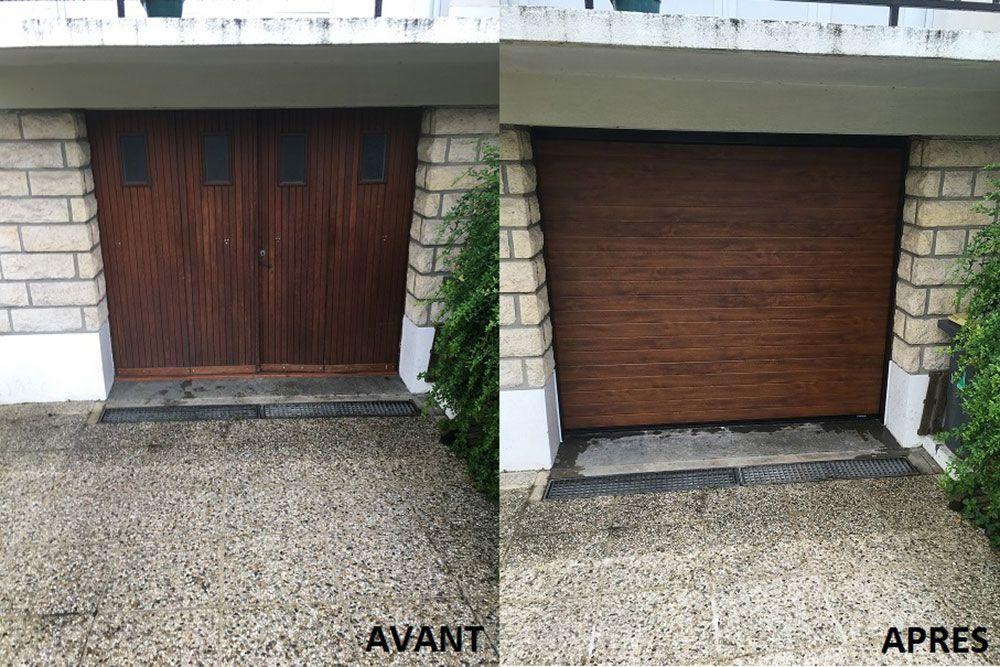 Changement d une porte de garage bois par une porte for Porte de garage la toulousaine sectionnelle